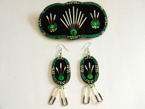 Monica Alexander (Metis/Canadian/Micmac) Emerald Green Quill Earrings Available from hfmade on Etsy