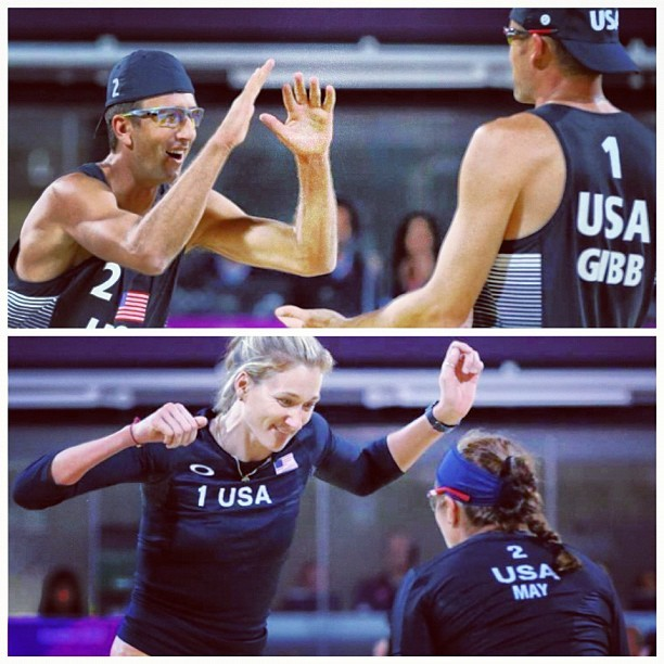 Jake Gibb and Sean Rosenthal #usa mens (top) and Misty May-Treanor and Kerri Walsh #usa womens (bottom) #beachvolleyball #london2012 #olympics #volleyball #sports (Taken with Instagram)