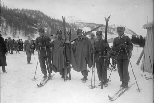 "The German military patrol team at the 1928 Winter Olympics in St. Moritz, Switzerland. ""Military patrol"" was a demonstration event at the winter games in 1924, 1928, 1936, and 1948. (The Germans came in fifth.)"