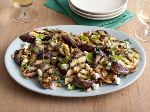 Grilled eggplant and goat cheese salad, yum!