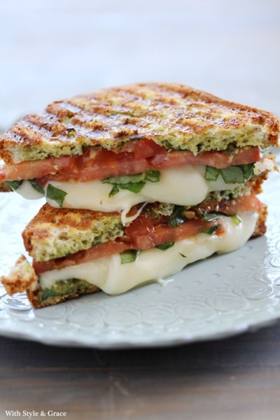 Caprese (mozzarella, tomato and basil) grilled sandwich
