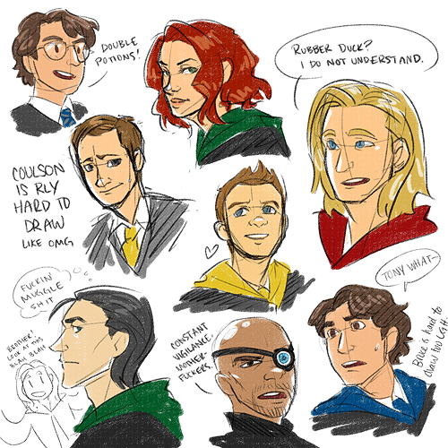 Nope, Hogwarts!Avengers not out of my system yet and I blame all of you for encouraging it. <3 So have some non-Stony headshots and wow I should really get to bed.