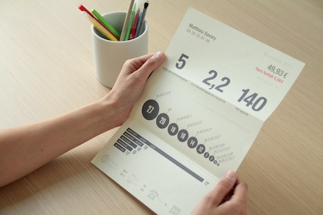 Reinventing the phone bill. User Studio Agency gives aesthetic value to bills data.  http://www.userstudio.fr/projets/refact/ http://www.core77.com/blog/ux/refact_a_phone_bill_worth_reading_22955.asp?utm_source=feedburner&utm_medium=feed&utm_campaign=Feed%3A+core77%2Fblog+%28Core77.com%27s+design+blog%29