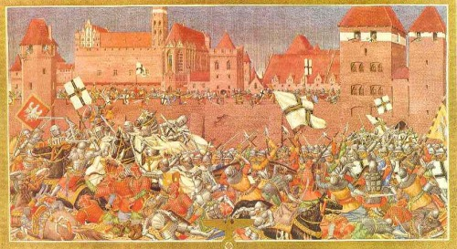 The Siege of Marienburg.  The main Polish–Lithuanian forces arrived only on 26 July 1410. The siege was not intense: Polish King Jogaila was confident that Prussia had already fallen and began distributing land among his nobles. He sent his troops to capture numerous small castles that were left without garrisons. Only eight castles remained in Teutonic hands. The Knights were allowed to communicate with their allies. They send envoys to Sigismund of Hungary and Wenceslaus, King of the Romans, who provided a loan to hire mercenaries and promised to send Bohemian and Moravian reinforcements by the end of September. The Livonian Order sent 500 men as soon as its three-month truce with Lithuania expired. The siege, holding Jogaila's army in place, helped to organize defensive forces in other parts of Prussia.  Aftermath.  After the withdrawal of the Polish–Lithuanian forces, the Knights started taking back their fortresses. By the end of October, only four Teutonic castles remained in Polish hands – border towns of Thorn (Toruń), Nessau (Nieszawa), Rehden (Radzyń Chełmiński) and Strasburg (Brodnica). Jogaila raised a fresh army and dealt another defeat to the Knights in the Battle of Koronowo on 10 October 1410. Von Plauen, using his reputation as hero of Marienburg, was elected as the new Grand Master in November. Von Plauen wanted to continue warfare, but he was pressured by his advisers into peace negotiations. The Peace of Thorn was signed on 1 February 1411. It is considered a diplomatic victory for the Knights as they suffered only minimal territorial losses. The Siege of Marienburg and subsequent Peace of Thorn are seen as disappointing results of the great Battle of Grunwald. The Marienburg Castle was captured by Poles during the Thirteen Years' War (1454–66).   Source.