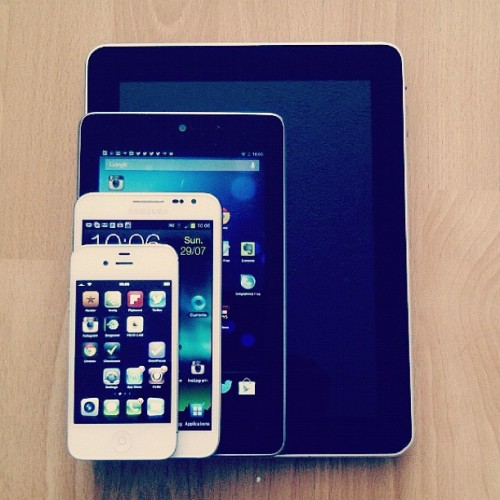Apple iPad, Asus Nexus 7, Samsung Galaxy Note and Apple iPhone. Guess which 2 form/size devices I prefer? (Taken with Instagram)