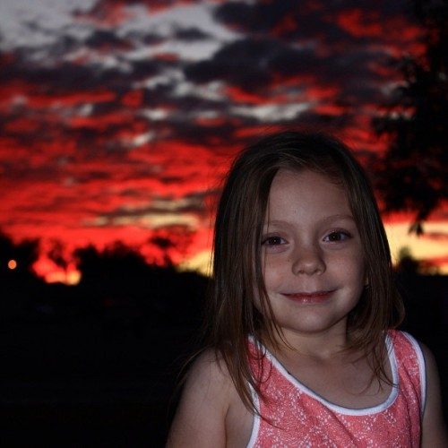 My Lyla xx #sky #clouds #landscape #red #daughter (Taken with Instagram)