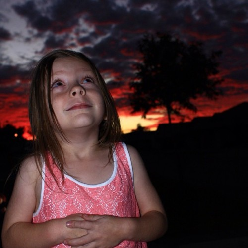 #red #sky #clouds #landscape #daughter  (Taken with Instagram)