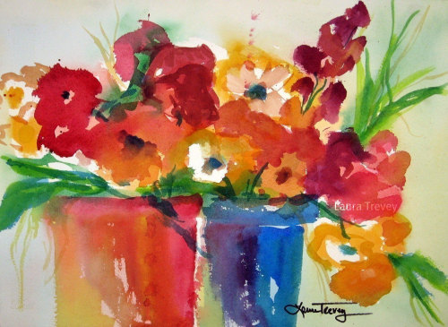 Container Garden art print with rich Fall Colors  Watercolors by Laura Trevey on Etsy - prints and original paintings