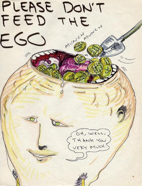 ippsoo:  Please don't feed the ego,Another fantastic drawing by Daniel Johnston