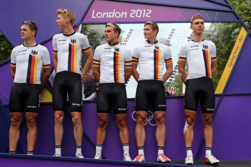 LONDON, ENGLAND - JULY 28: Germany team pose ahead of the Men's Road Race Road Cycling on day 1 of the London 2012 Olympic Games on July 28, 2012 in London, England. (via Photo from Getty Images)