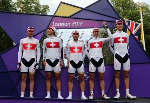 LONDON, ENGLAND - JULY 28: Switzerland team pose ahead of the Men's Road Race Road Cycling on day 1 of the London 2012 Olympic Games on July 28, 2012 in London, England. (via Photo from Getty Images)