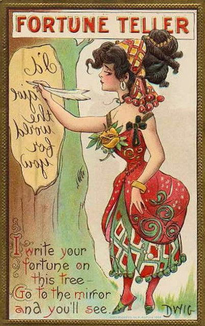 "drunkcle:  One of Dwig's (Clare Victor Dwiggins) 556 postcards. One of the ""Fortune Teller"" series from 1909."