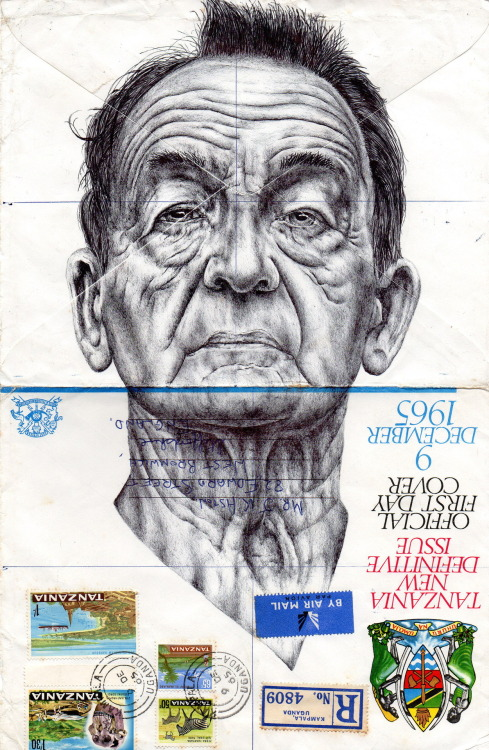 this is so magnificent.  markpowellart:  Bic Biro drawing on 1965 envelope.