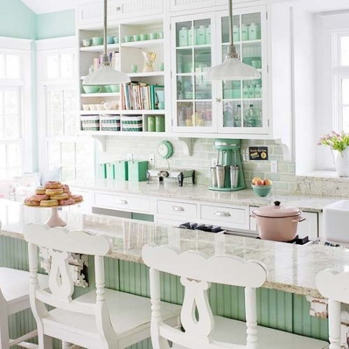 white and mint kitchen