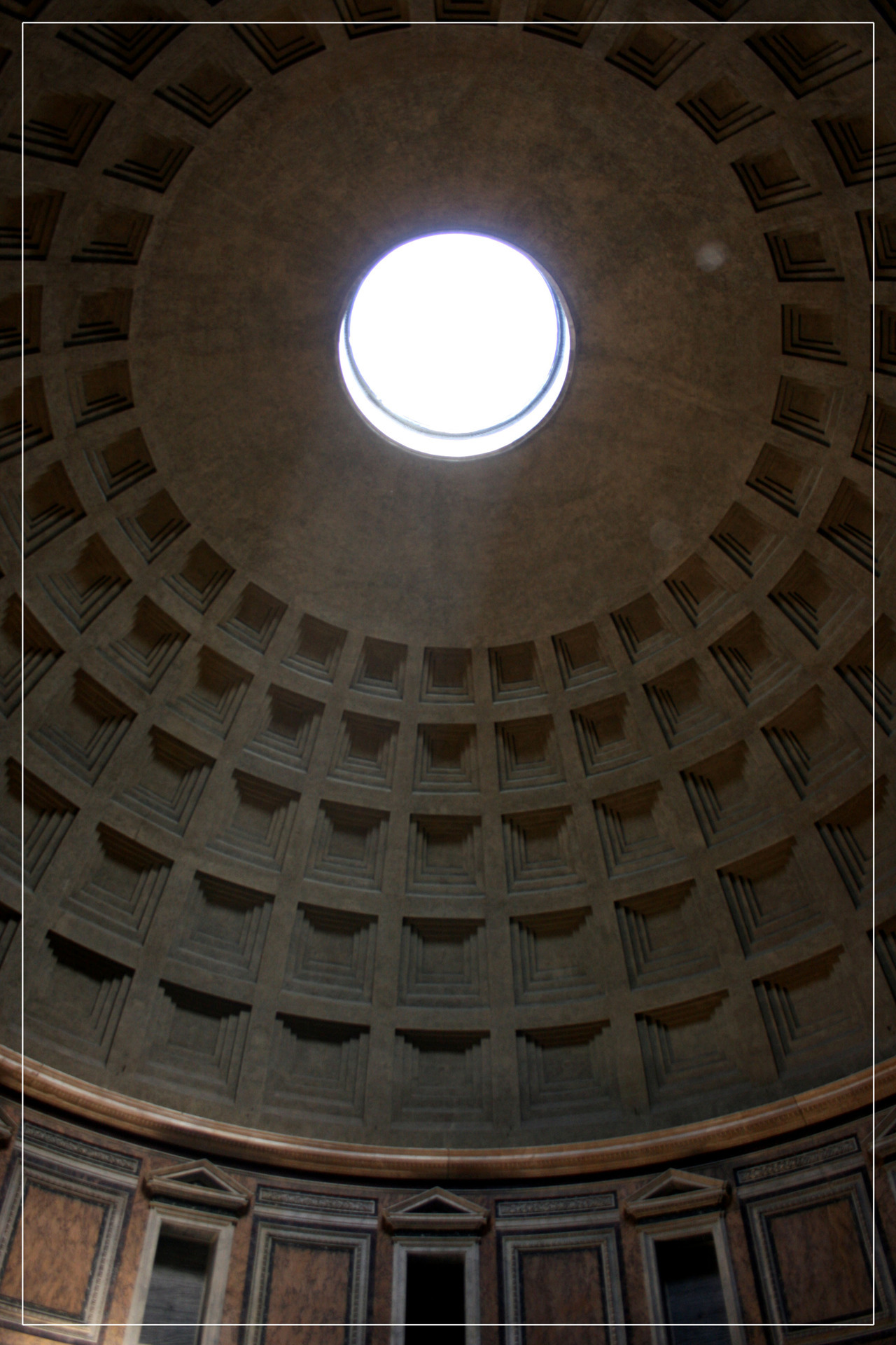The Pantheon in Rome was built 118 - 125 AC. It's now a Catholic church. It's very important for the Roman Architecture because it was built with opus caementitium, a new form of material (similar to modern Portland cement). This material first allowed to built domed constructure.