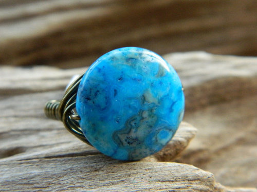 gabeadz (via Wire Wrapped Ring Size 85 Crazy Lace Blue Cobalt Teal by gabeadz)