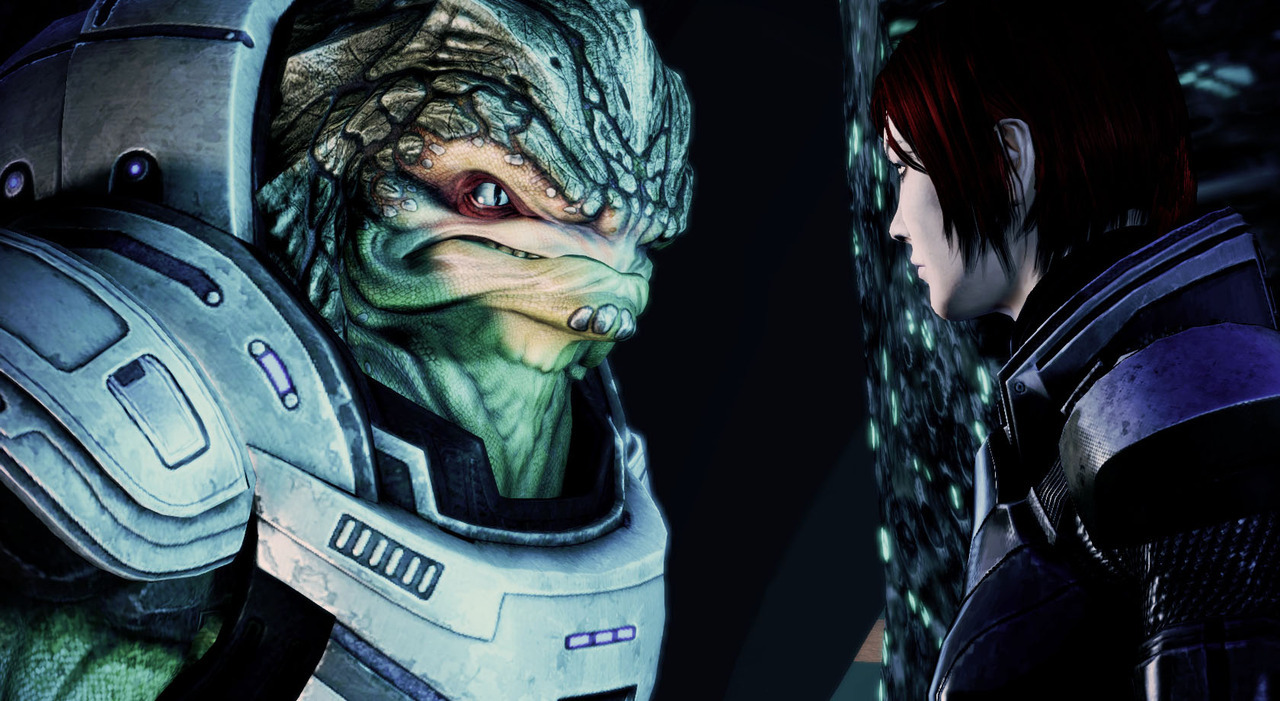 One of my favorite scenes of Mass Effect 3- Tense and silent pause of understanding and acknowledgement between Shepard and Grunt; right before Grunt single handedly charges into a group of mutated rachni to buy Shepard and crew time to escape.
