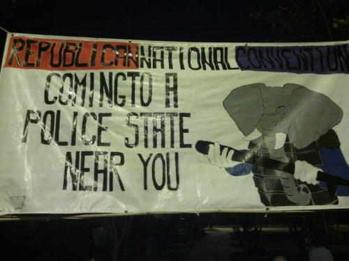 This is now hanging outside of Occupy Tampa.