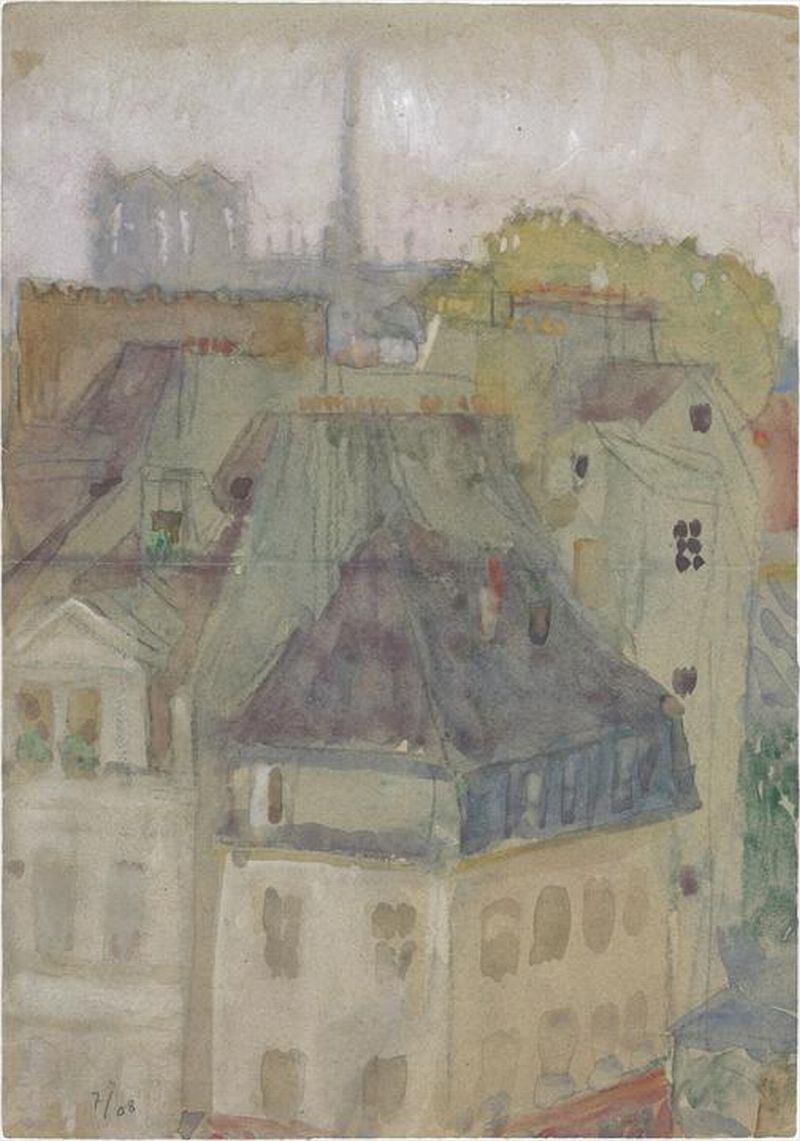 Le Corbusier Vue des toits de Paris. Notre-Dame au fond, 1908 Graphite pencil and watercolour on paper Dimensions : H : 0,358 m x L : 0,252 m