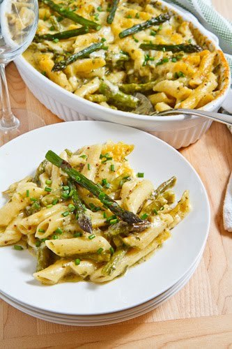 Asparagus and ramp pesto mac and cheese