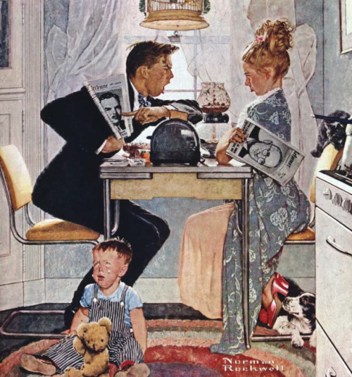 Breakfast Table Politics, art by Norman Rockwell.  Detail from cover, October 30, 1948, Saturday Evening Post.
