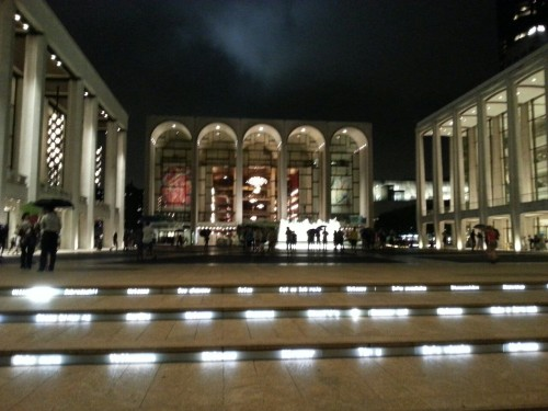 Lincoln Center is definitely one of my favorite places to be in the city at night, the way everything is lit up and the people just getting out of shows and sitting on the steps and laughing and talking, it's just an amazing atmosphere