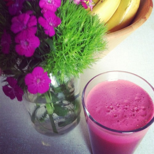 Beet, kale, & apple juice to match our flowers. (Taken with Instagram)