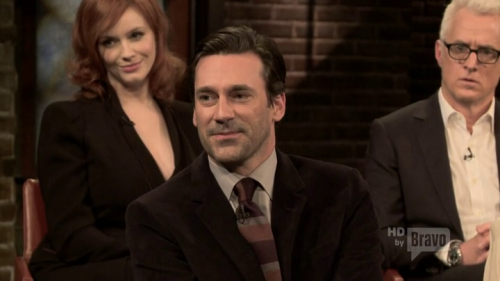 The cast of Mad Men on Inside the Actors Studio Holy hell, Jon Hamm is talking about losing his mother to colon cancer at age 10 and the impact it had on his subsequent relationships, being diagnosed with depression and losing his father at 20, etc. Can you imaging losing a parent at that age? (A few of y'all probably can because you did.) I don't know what I would have done. Being a child is terrifying enough on its own. Bless you, Juan Jamon.