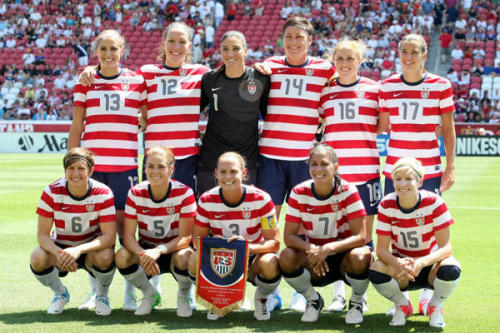 byebyehairties:  We LOVE the US Women's Soccer Team's jerseys.  They would look really great with one of our red clutches.  Hey ladies!  Call us for samples  :)