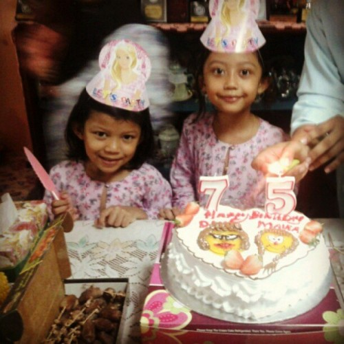 Celebrating kakak 7th birthday and adik 5th birthday :)  (Taken with Instagram)