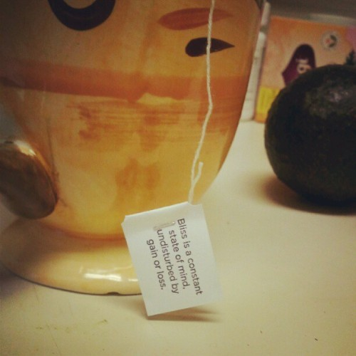 zuzus-petals:  Really digging my yogitea's words of wisdom this morning. #yoga #tea #bliss (Taken with Instagram)