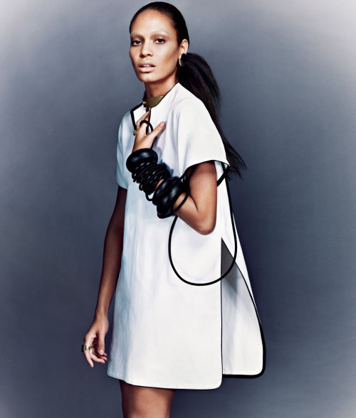 Joan Smalls in Céline, photographed by Sharif Hazma for T Style Spring 2011.
