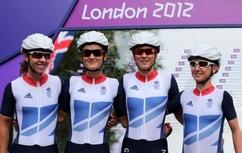 Nicole Cooke, Elizabeth Armitstead, Lucy Martin and Emma Pooley of Great Britain pose ahead of the Women's Road Race Road Cycling on day two of the London 2012 Olympic Games on July 29, 2012 in London, England. (via Photo from Getty Images)