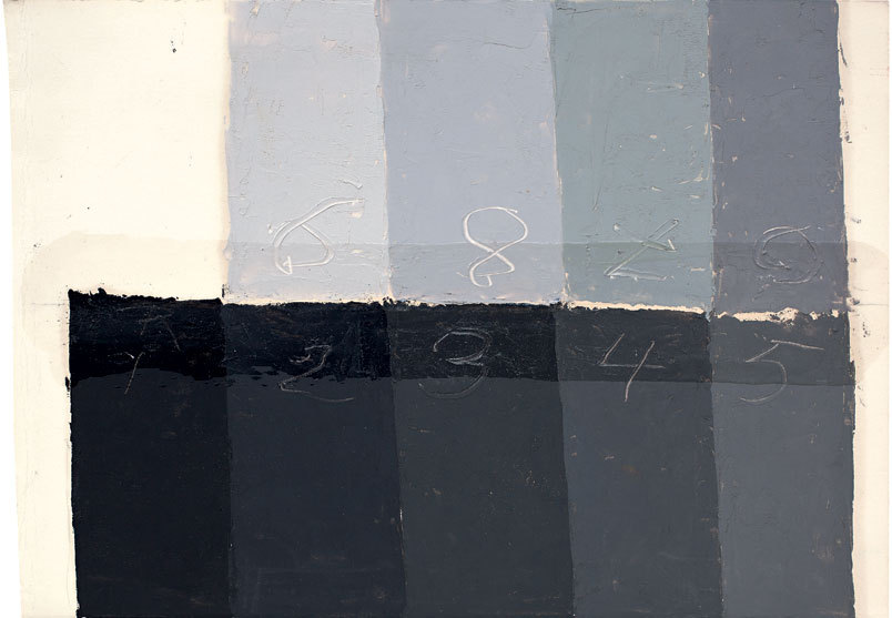 Josef Albers-Color Study of Grays, not dated, Oil on cardstock with varnish 17.9 x 25.7 cm,