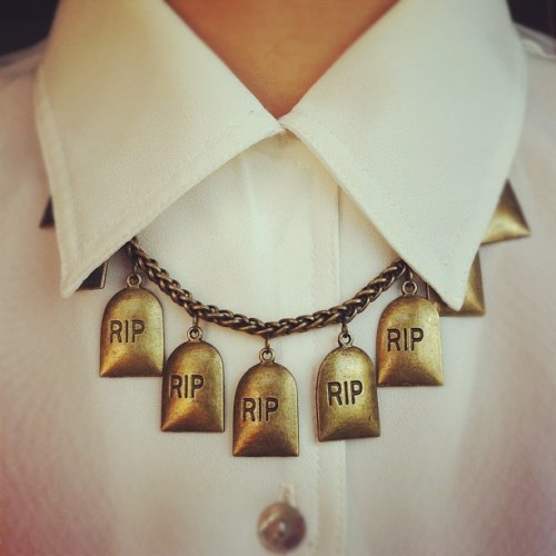 Tombstone collar necklace! Available now at www.emptycasket.co.uk
