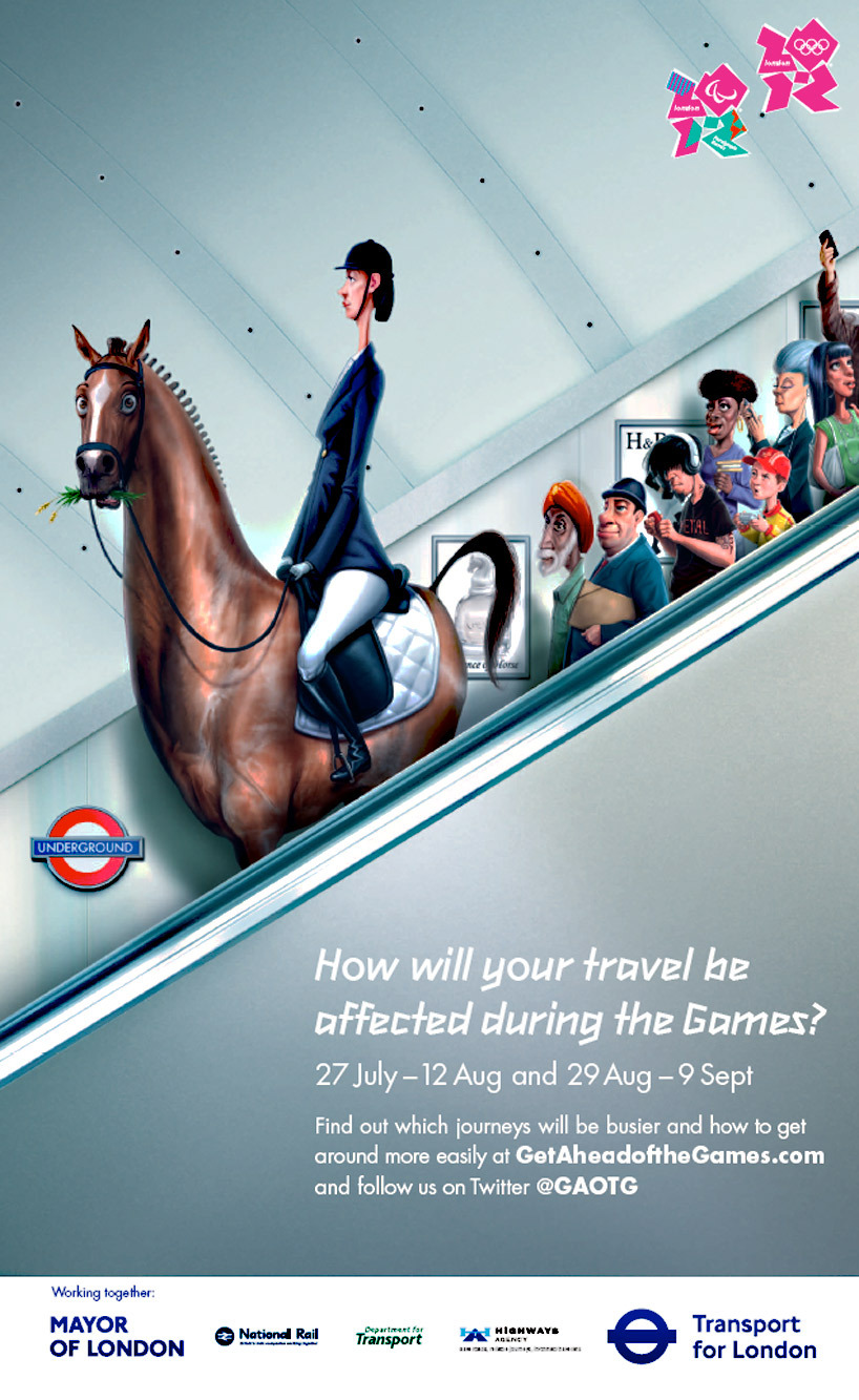 get ahead of the games: ease of olympic travel campaign International marketing agency m+c saatchi has created 'get ahead of the games', a national advertising campaign to help raise awareness of travel delays, tips and planning for inhabitants and visitors in london during the 2012 olympic and paralympic games. The campaign was developed to engage with various methods of communication, covering social media, website and printed distribution, decorating newspapers, cell phones and metro stations alike. In anticipation of the games, organizations such as transport for london, the olympic delivery authority, the mayor of london,  national rail, highways agency and department for transport are working collaboratively to release up to date information about city transportation through the 'get ahead of the game' website and twitter feed. the light-hearted illustrations developed display digitized caricatures of olympic and paralympic athletes, wearing the apparel of their sport, causing a disruption in the normal flow of commuter traffic.