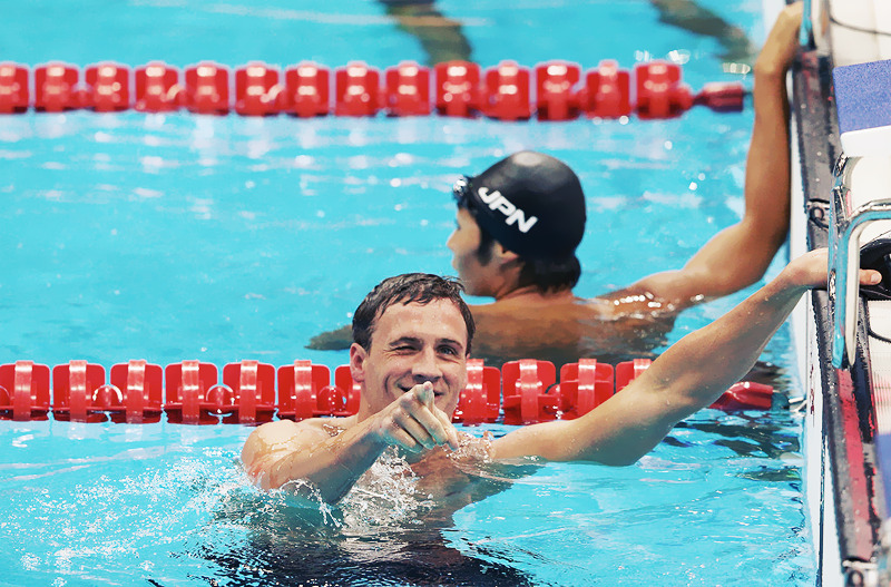 OLYMPICS DAY 1Men's 400m Individual Medley. Ryan Lochte celebrates as he finishes first in the race Photo by Cameron Spencer