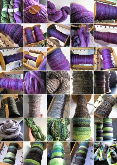 Time for a Tour de Fleece 2012 wrap-up.  From left to right, the three skeins I completed, all washed and labeled. Metro, 270 m/113 g (295 yd/4 oz) of 2-ply worsted weight (WPI 9-10) Mixed Finnsheep, 140 m/104 g (153 yd/3.7 oz) of 2-ply worsted weight (WPI 9) Electric Flamingo, 680 m/99 g (740 yd/3.5 oz) of 2-ply lace weight (WPI 25-30) Total spinning time was 37 hours 8 minutes — that's an average of 1 hour and 37 minutes each day. This was my first year doing the Tour and I'll definitely do it again next year! Maybe  I could spin for a sweater next time?