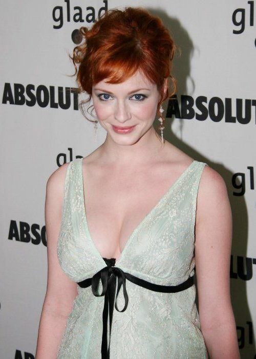 Christina Hendricks at the 16th Annual GLAAD Media Awards, July 2005 Christina is a vision no matter what, but I wish she would make more red carpet appearances without all the corsetry and crazy push-up bras. Like this!