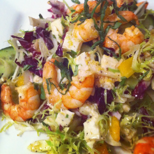 HomeCookin: shrimp scampi salad w/ endive, radicchio, frisée and basil.