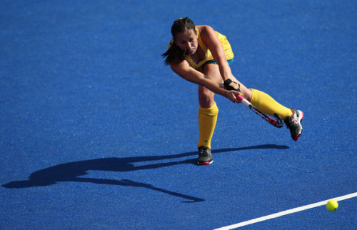 Jayde Taylor of Australia in action during the Women's Pool WB Match W01 between New Zealand and Australia at the Hockey Centre on July 29, 2012 in London, England. (via Olympics Day 2 - Hockey - Pictures - Zimbio)