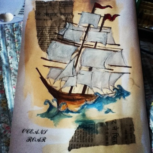 Oceans Roar, 2012Tea, Watercolour, Pencil, Biro and Indian newspaper