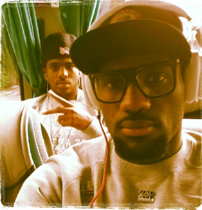 Lebron James and Chris Paul tweeted this pic of them on the way to Team USA vs. Team France game at the 2012 Olympics