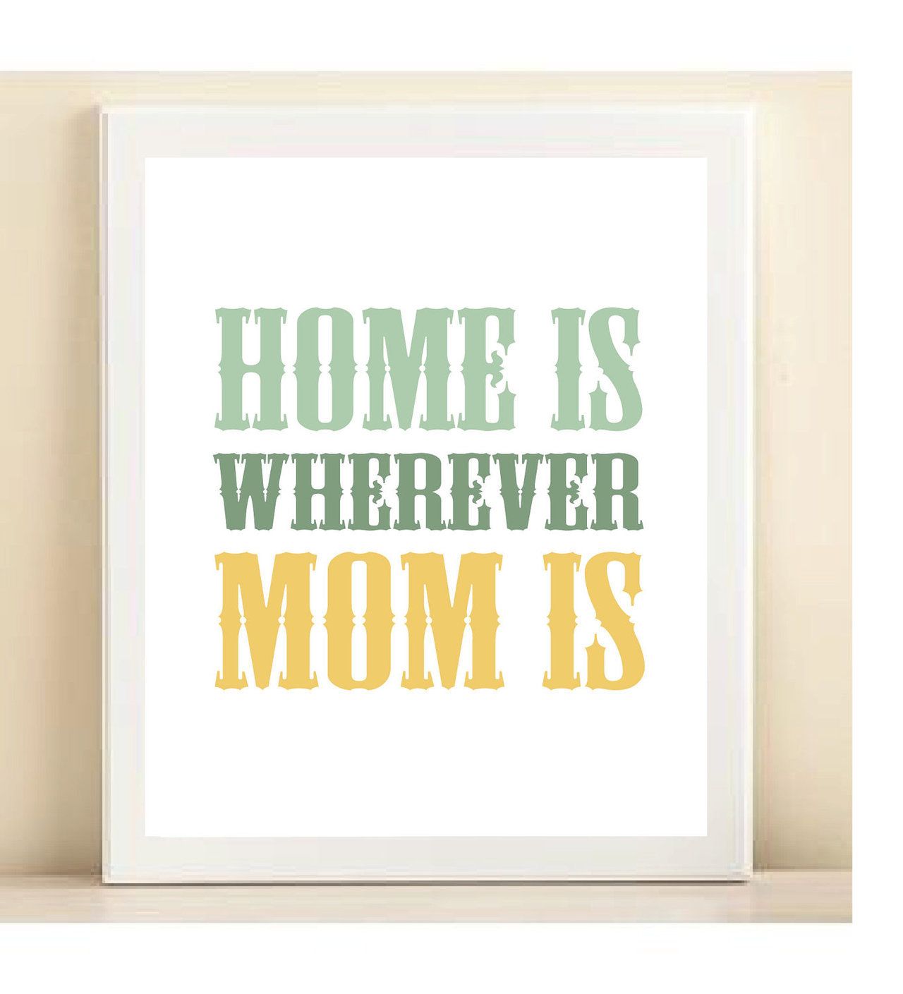 Aqua & Yellow Home Is Wherever Mom Is print by AmandaCatherineDes