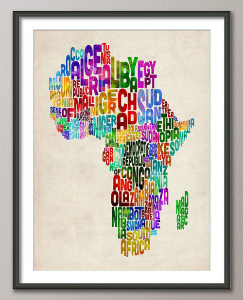 Africa Text Map by artPause on Etsy