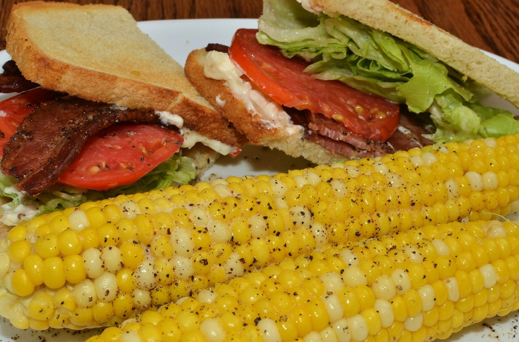 Mmm… sweet corn and a BLT
