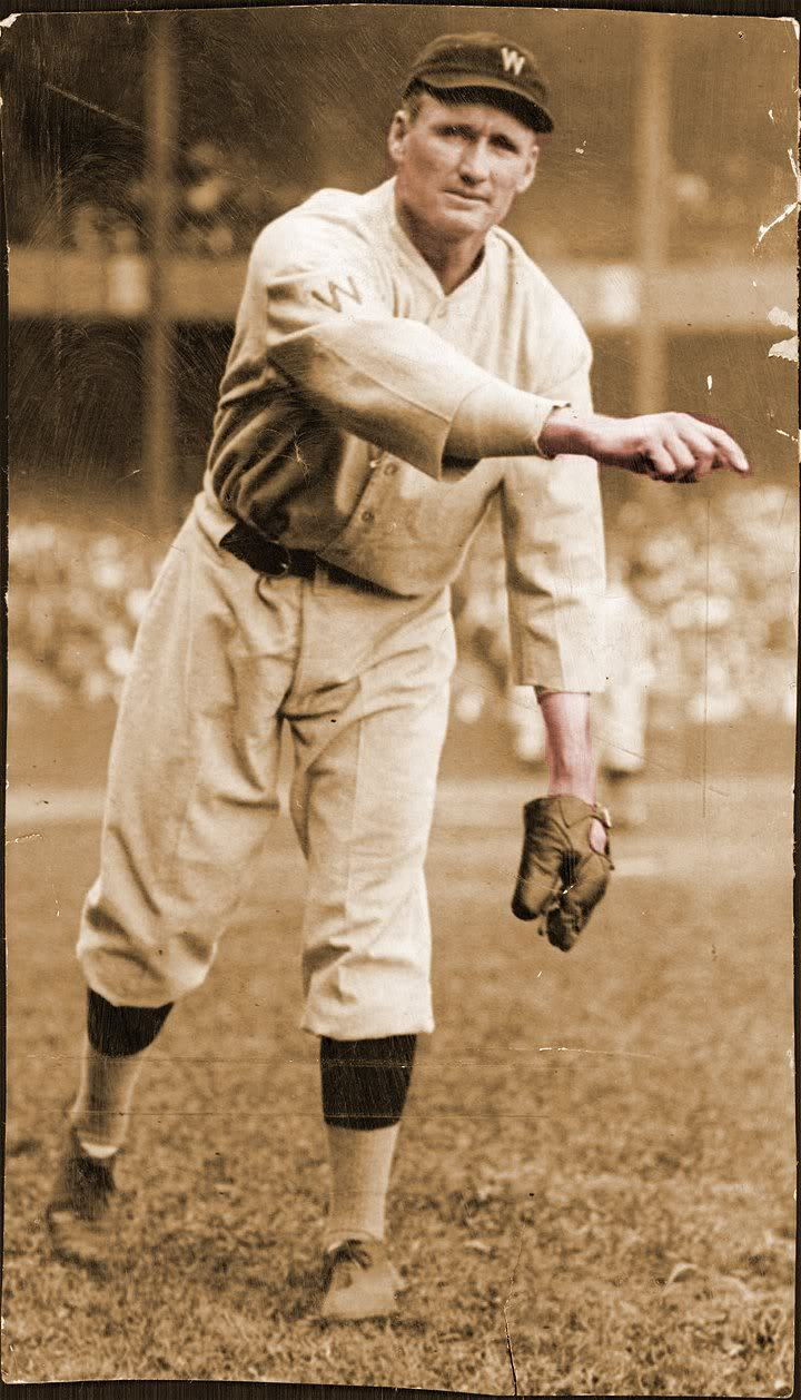 homage:  On August 7th 1907, 19-year-old Washington Senators pitcher Walter Johnson earned the first of his 416 career victories with a  7-2 win over the Cleveland Indians. Only Cy Young has more career wins (511) than Johnson.