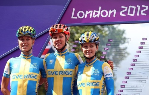 """Isabelle Soderberg, Emilia Fahlin and Emma Johansson pose ahead of the Women's Road Race at the 2012 Summer Olympics"" (via Photo from Getty Images) More photos of the Road Race on DayLife"