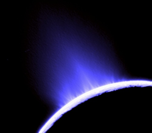 "astrodidact:  Will Alien Life Be First Discovered On Saturn's Enceladus? In 2011, NASA's Cassini spacecraft discovered the best evidence yet for a large-scale saltwater reservoir beneath the icy crust of Saturn's moon Enceladus. The data came from the spacecraft's direct analysis of salt-rich ice grains close to the jets ejected from the moon. ""This finding is a crucial new piece of evidence showing that environmental conditions favorable to the emergence of life can be sustained on icy bodies orbiting gas giant planets,"" according to Nicolas Altobelli, the European Space Agency's project scientist for Cassini. Data from Cassini's cosmic dust analyzer show the grains expelled from fissures, known as tiger stripes, are relatively small and predominantly low in salt far away from the moon. But closer to the moon's surface, Cassini found that relatively large grains rich with sodium and potassium dominate the plumes. The salt-rich particles have an ""ocean-like"" composition and indicate that most, if not all, of the expelled ice and water vapor comes from the evaporation of liquid salt water. ""There currently is no plausible way to produce a steady outflow of salt-rich grains from solid ice across all the tiger stripes other than salt water under Enceladus's icy surface,"" said Frank Postberg, a Cassini team scientist at the University of Heidelberg, Germany, and the lead author on the paper. When water freezes, the salt is squeezed out, leaving pure water ice behind. If the plumes emanated from ice, they should have very little salt in them. The Cassini mission discovered Enceladus' water-vapor and ice jets in 2005. In 2009, scientists working with the cosmic dust analyzer examined some sodium salts found in ice grains of Saturn's E ring, the outermost ring that gets its material primarily from Enceladean jets. But the link to subsurface salt water was not definitive. The new paper analyzes three Enceladus flybys in 2008 and 2009 with the same instrument, focusing on the composition of freshly ejected plume grains. The icy particles hit the detector target at speeds between 15,000 and 39,000 mph (23,000 and 63,000 kilometers per hour), vaporizing instantly. Electrical fields inside the cosmic dust analyzer separated the various constituents of the impact cloud. The data suggest a layer of water between the moon's rocky core and its icy mantle, possibly as deep as about 50 miles (80 kilometers) beneath the surface. As this water washes against the rocks, it dissolves salt compounds and rises through fractures in the overlying ice to form reserves nearer the surface. If the outermost layer cracks open, the decrease in pressure from these reserves to space causes a plume to shoot out. Roughly 400 pounds (200 kilograms) of water vapor is lost every second in the plumes, with smaller amounts being lost as ice grains. The team calculates the water reserves must have large evaporating surfaces, or they would freeze easily and stop the plumes. Cassini's ultraviolet imaging spectrograph also recently obtained complementary results that support the presence of a subsurface ocean. A team of Cassini researchers led by Candice Hansen of the Planetary Science Institute in Tucson, Ariz., measured gas shooting out of distinct jets originating in the moon's south polar region at five to eight times the speed of sound, several times faster than previously measured. These observations of distinct jets, from a 2010 flyby, are consistent with results showing a difference in composition of ice grains close to the moon's surface and those that made it out to the E ring. That paper was published in the June 9 issue of Geophysical Research Letters. (Source:Dailygalaxy)"