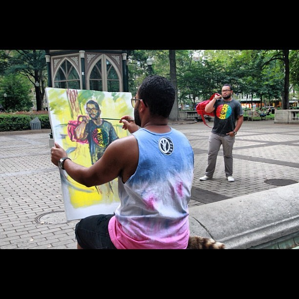 How cool is this? @don_thedntnboy painting himself from the Tees vs Tanks shoot shot by @rickycodio #DNTN #photoshoots #photography #KRT  (Taken with Instagram)